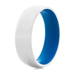 Men's Domed Titanium Ring with Ridgeway Blue Interior
