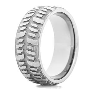 mens titanium interco mud bogger tire tread ring - Mud Tire Wedding Rings