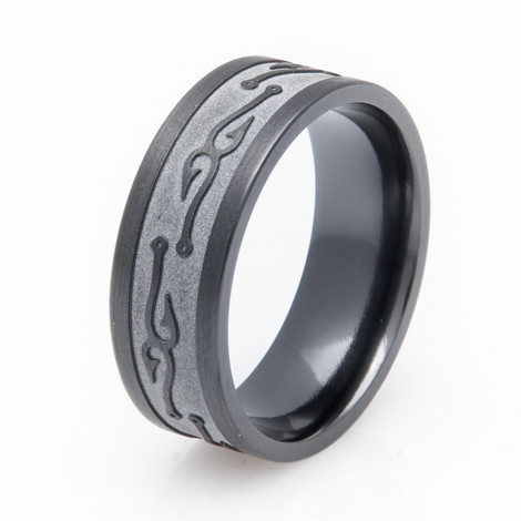mens textured black fish hook wedding band - All Black Wedding Rings