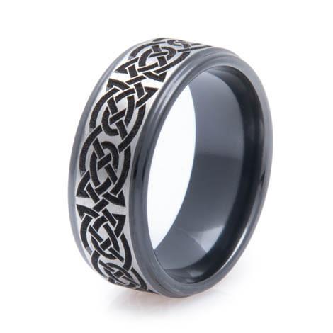 mens black zirconium celtic knot ring unique titanium