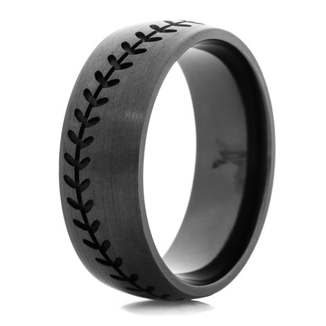 men39s blacked out baseball wedding band titanium buzz With mens baseball wedding rings