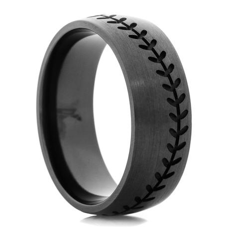s blacked out baseball wedding band titanium buzz