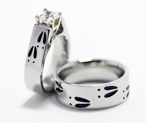Matching Cobalt Chrome Deer Track Wedding Rings Set, 4 Track Colors