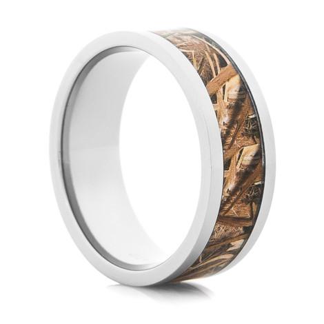 Mens Mossy Oak Blades Camo Ring Unique Titanium Rings More
