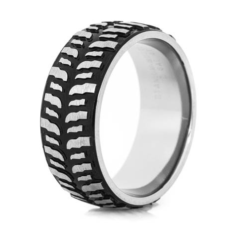 mens black titanium mud bogger ring - Mud Tire Wedding Rings