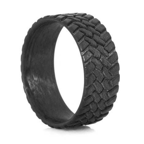 Mens Carbon Fiber OffRoad Wedding Ring TitaniumBuzz