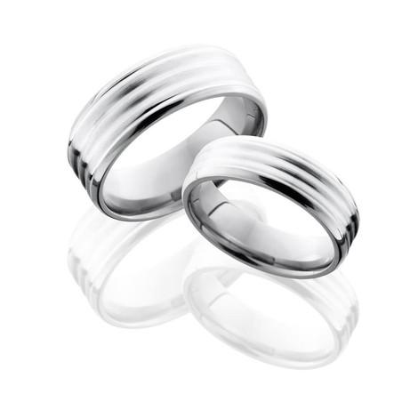 Channeled Cobalt Matching Ring Set