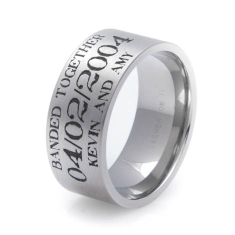 mens laser carved titanium rustic duck hunting wedding band