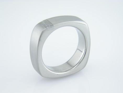 Men's Titanium Square Gibeon Meteorite Ring