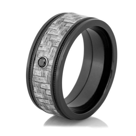 mens black diamond ring with texalium carbon fiber inlay - Carbon Fiber Wedding Ring