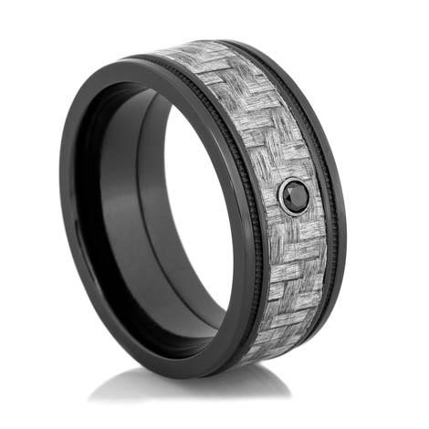 Black Diamond Ring with Texalium Inlay TitaniumBuzz