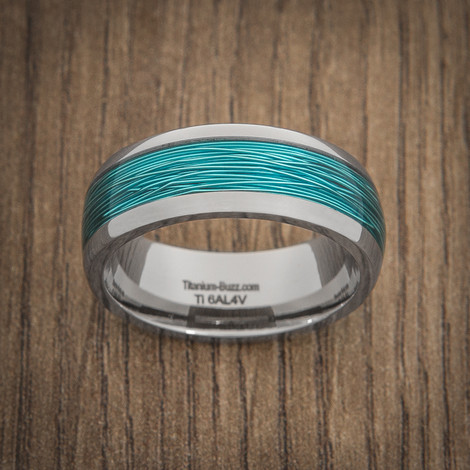 Titanium ring with ice blue fishing wire inlay titanium buzz for Fishing wedding band