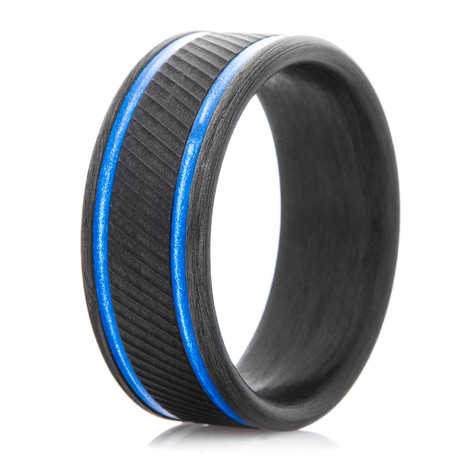 Men's Serrated Carbon Fiber Ring with Dual Blue Inlays