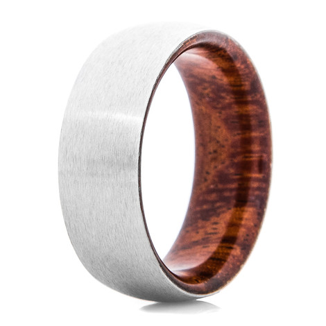 Men's Satin Finish Cobalt Ring with Koa Wood Sleeve