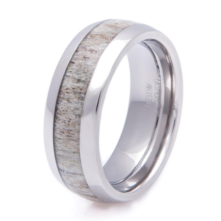 mens titanium deer antler inlay wedding ring - Deer Antler Wedding Rings