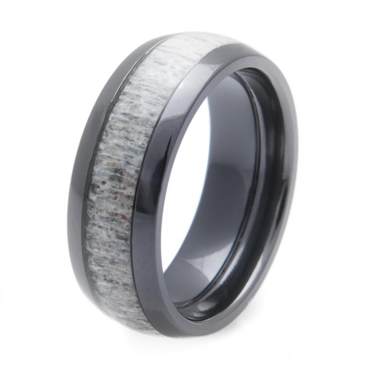 Mens Black Zirconium Deer Antler Ring Titanium Buzz