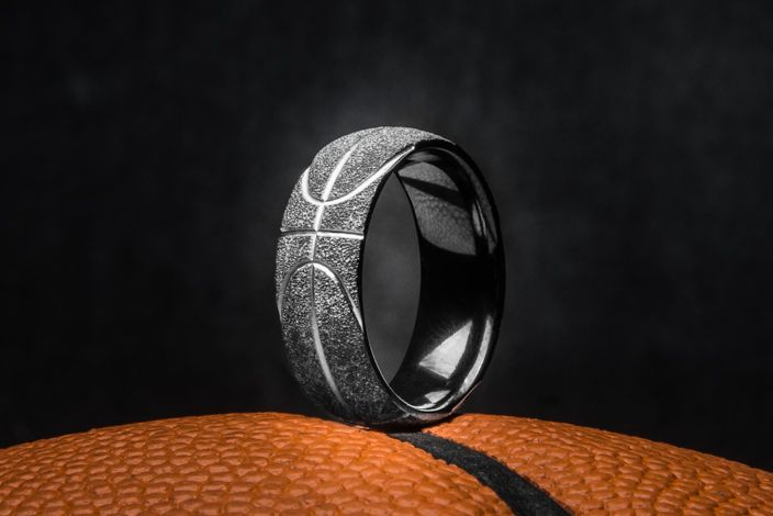 Men's Charcoal Finish Black Basketball Wedding Ring