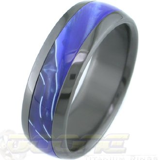 Executive Inlay Black Zirconium Ring, 14 Inlay Options