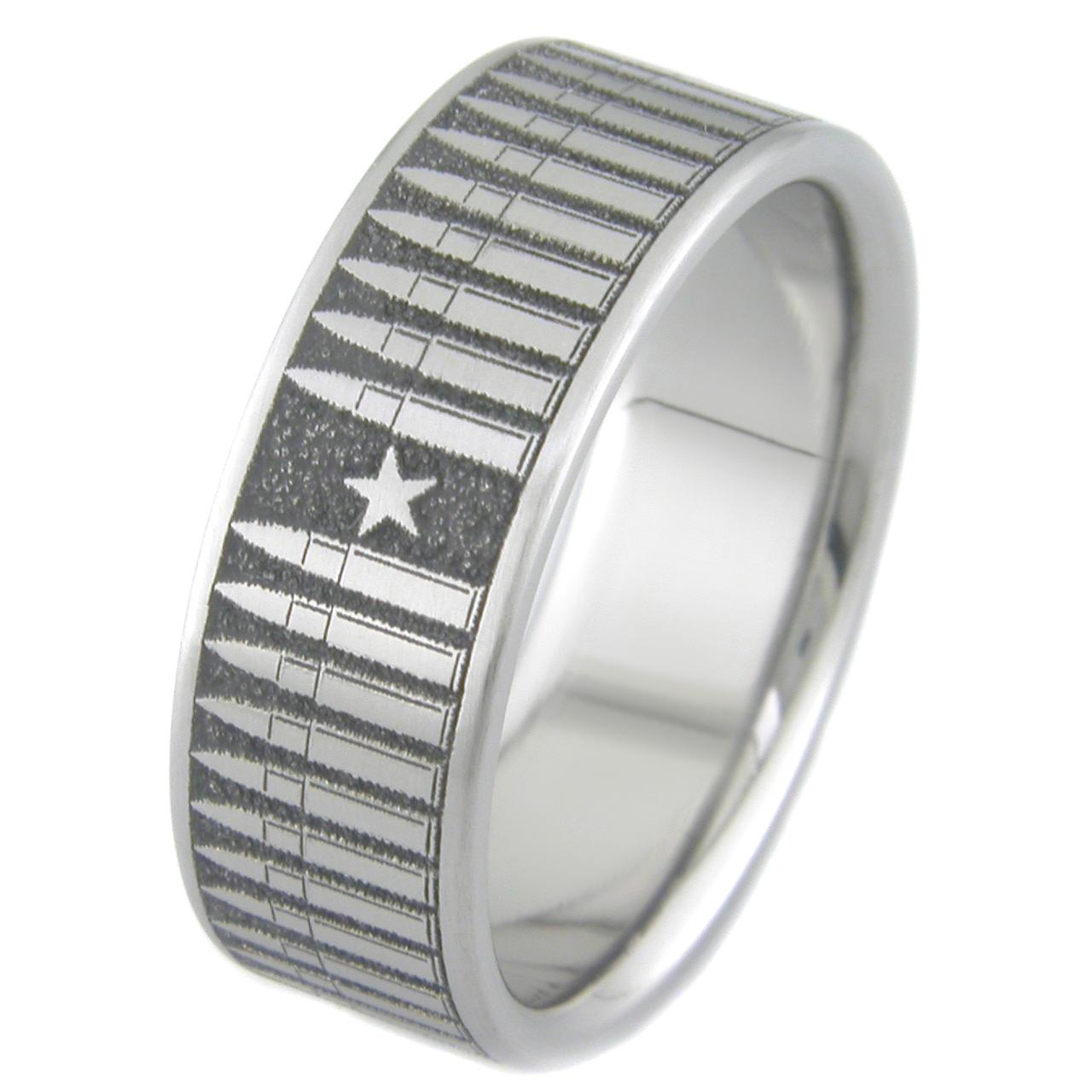 Mens LaserCarved Titanium Bullet Ring TitaniumBuzz