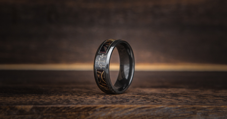 Men's Black Camo Cross Ring