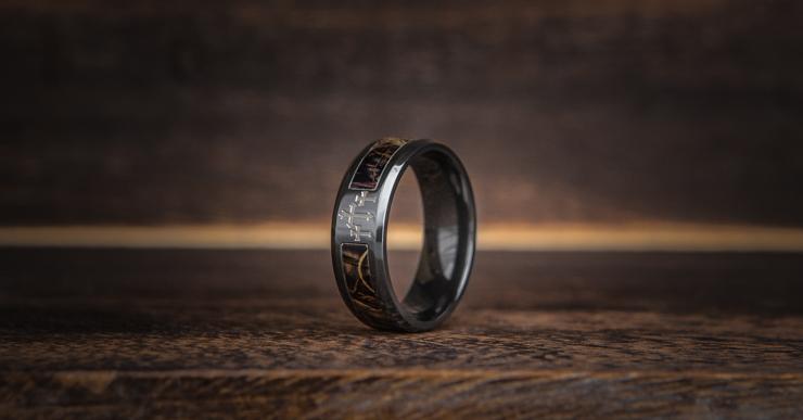 Men's Black Zirconium Camo Cross Ring