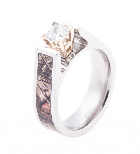 Women's Cobalt Chrome Cathedral Setting Camo Engagement Band