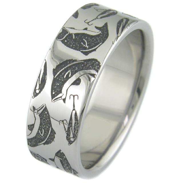 Mens Laser Carved Titanium Fishing Ring Titanium Buzz
