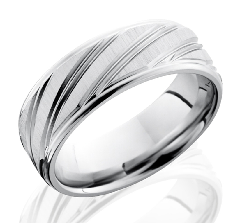 mens cobalt ring with long diagonal striped grooves - Cobalt Wedding Rings