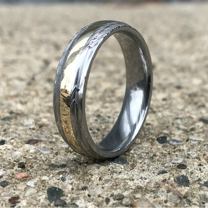 mens grooved edge damascus steel ring with wide 14k gold - Damascus Wedding Ring
