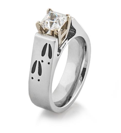 Cobalt Chrome Deer Track Engagement Ring Titanium Buzz