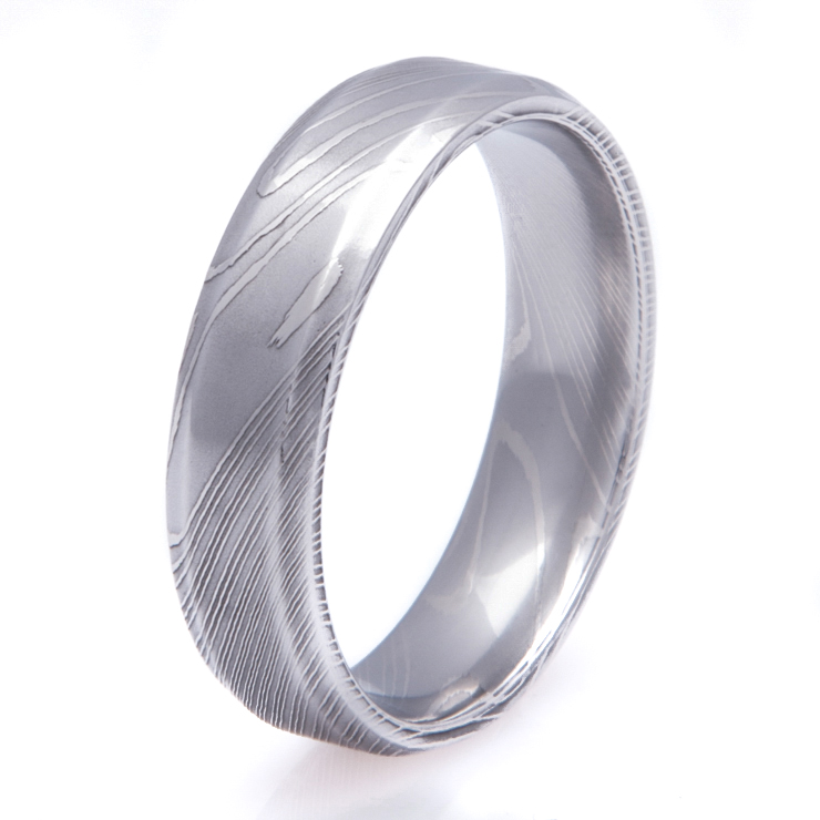 mens beveled edge flat profile damascus steel ring - Damascus Wedding Ring