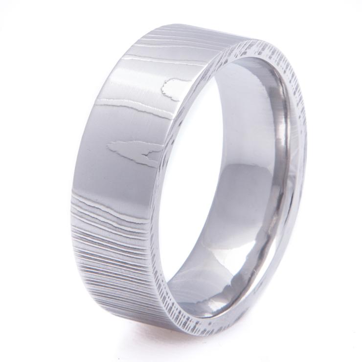 flat profile damascus steel wedding band titanium buzz