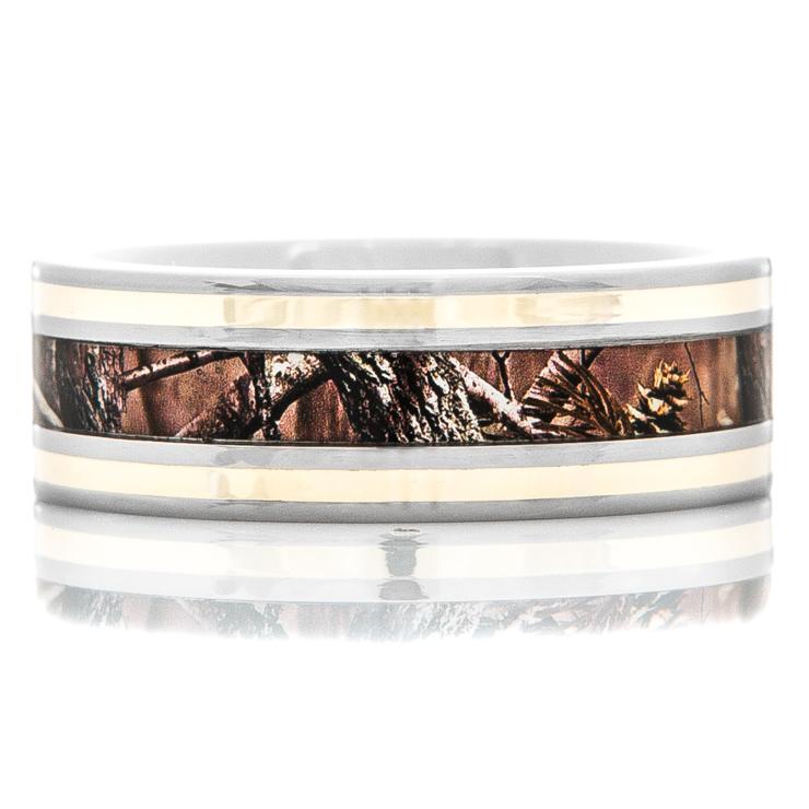 Men's Titanium Camo Wedding Ring with Dual 14K Gold Inlays