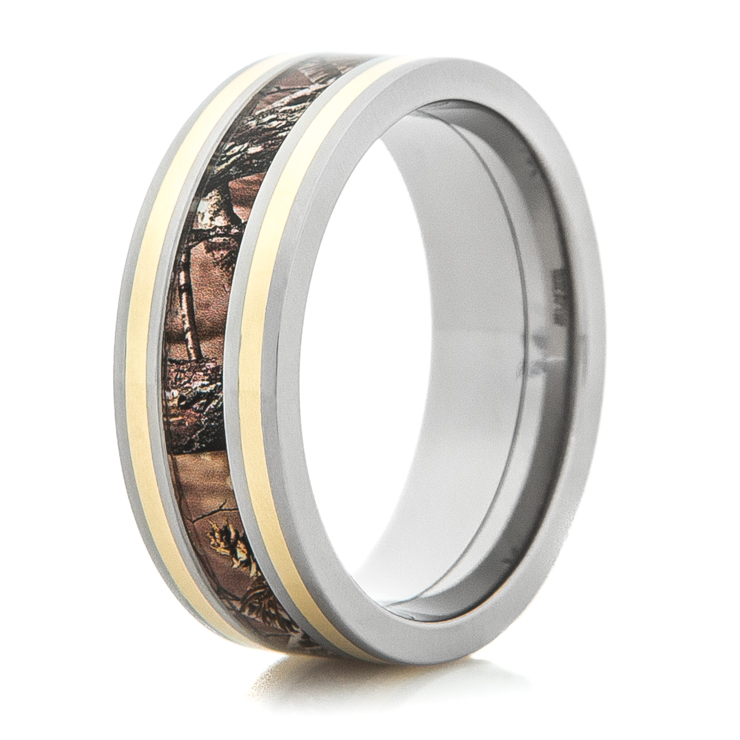 mens titanium camo wedding ring with dual 14k gold inlays - Camo Wedding Rings For Him
