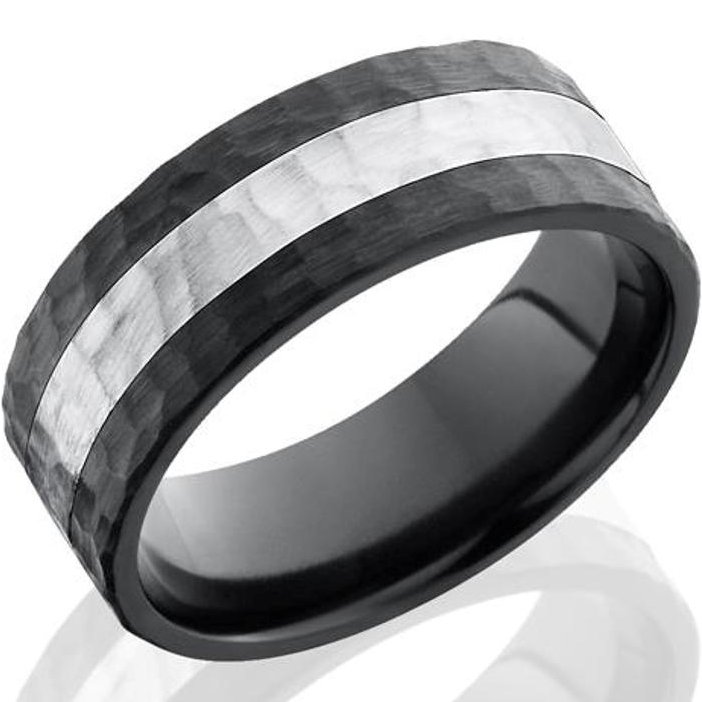 mens hammered black zirconium ring with sterling silver inlay