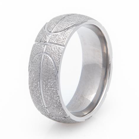 Men's Titanium Basketball Wedding Ring