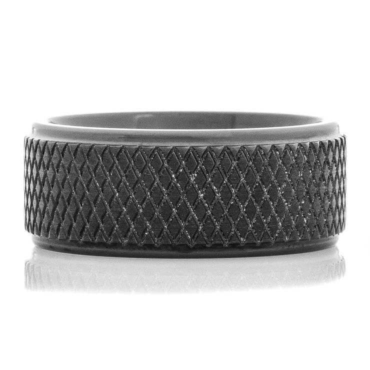 Men's Black Hockey Puck Ring