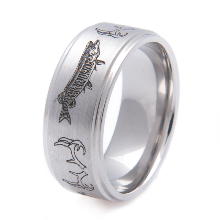 Antler and musky hunting and fishing band titanium buzz for Fishing wedding band