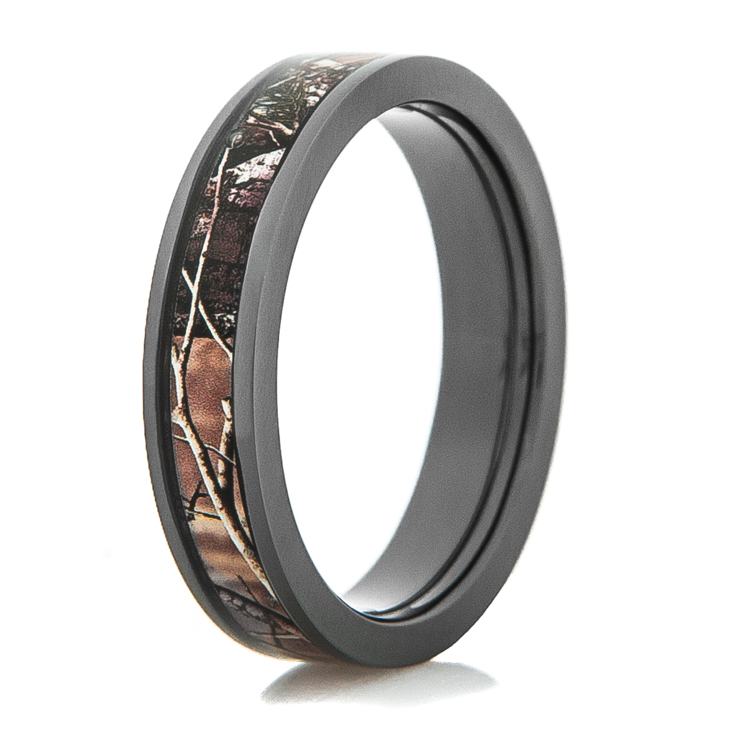 womens black zirconium camo wedding ring - Camo Wedding Rings For Him