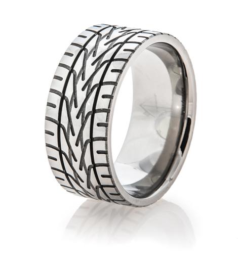Men's Titanium NASCAR Rain Tire Tread Ring