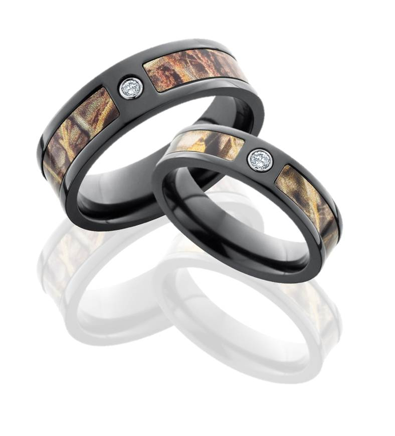 black zirconium camo wedding bands set