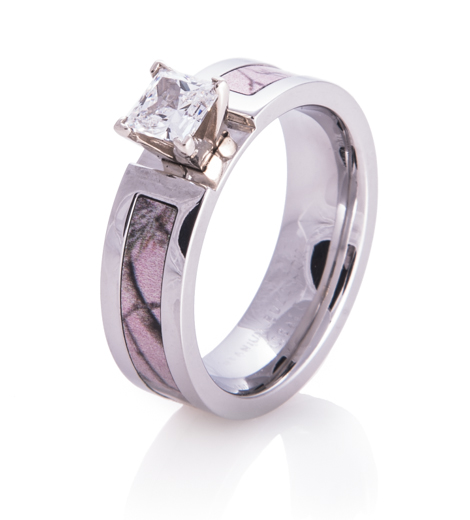 Women\'s Cobalt Chrome Realtree AP Pink Camo Engagement Ring