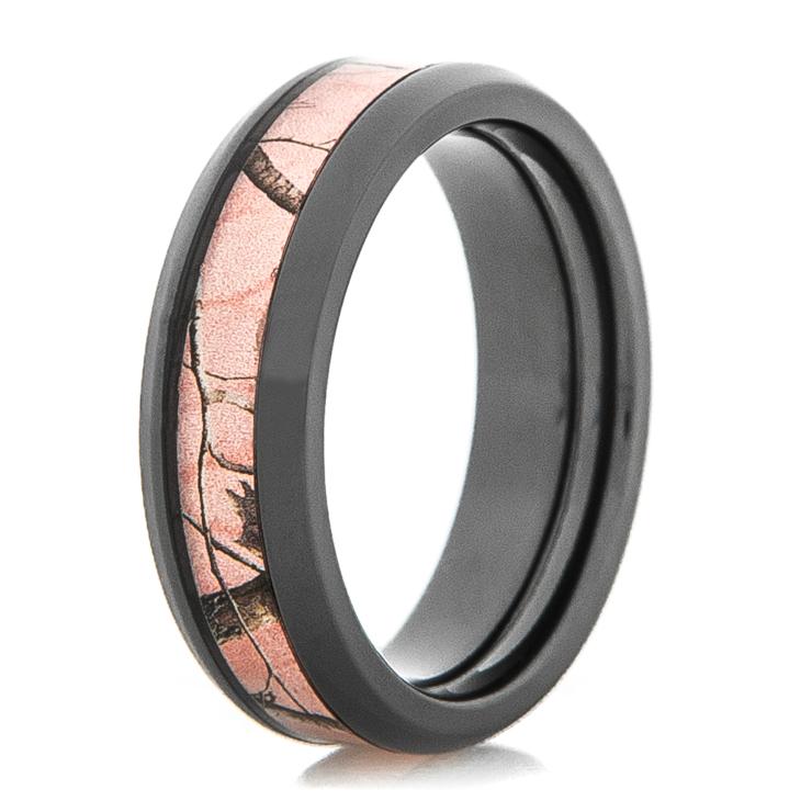 womens black zirconium realtree ap pink camo ring - Pink Camo Wedding Rings