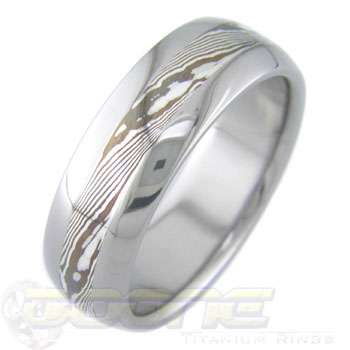 Silver and Shakudo Twist Mokume Gane Wedding Ring