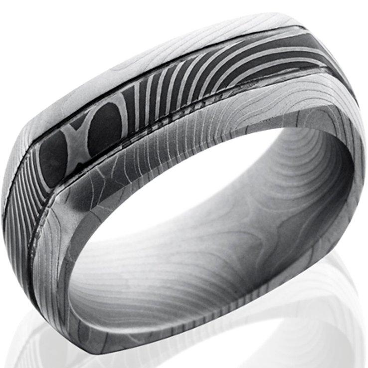 Men's Square Dual Finish Damascus Steel Ring