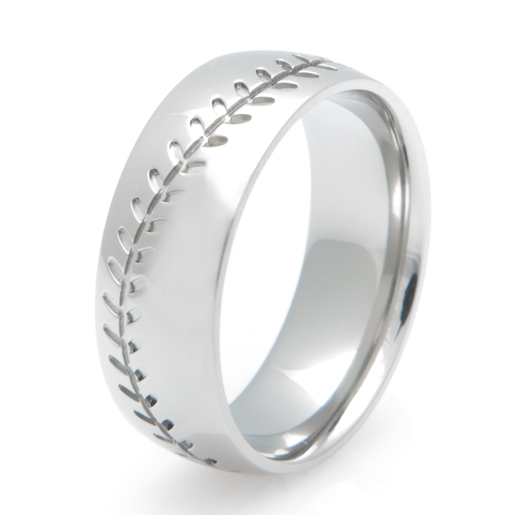 baseball wedding ring men s baseball stitch wedding ring titanium buzz 1509