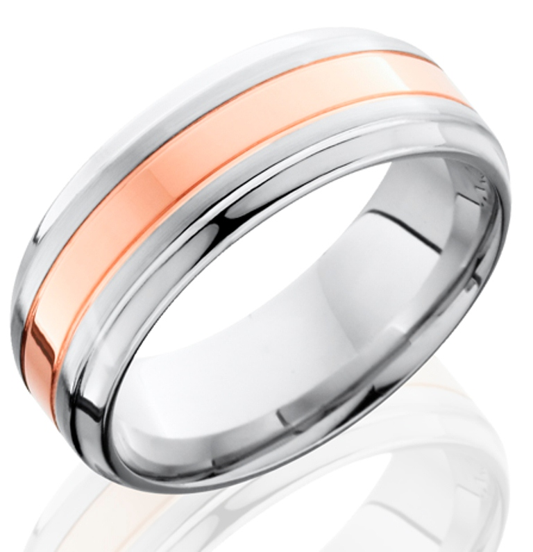 mens grooved edge cobalt wedding ring with rose gold - Cobalt Wedding Rings