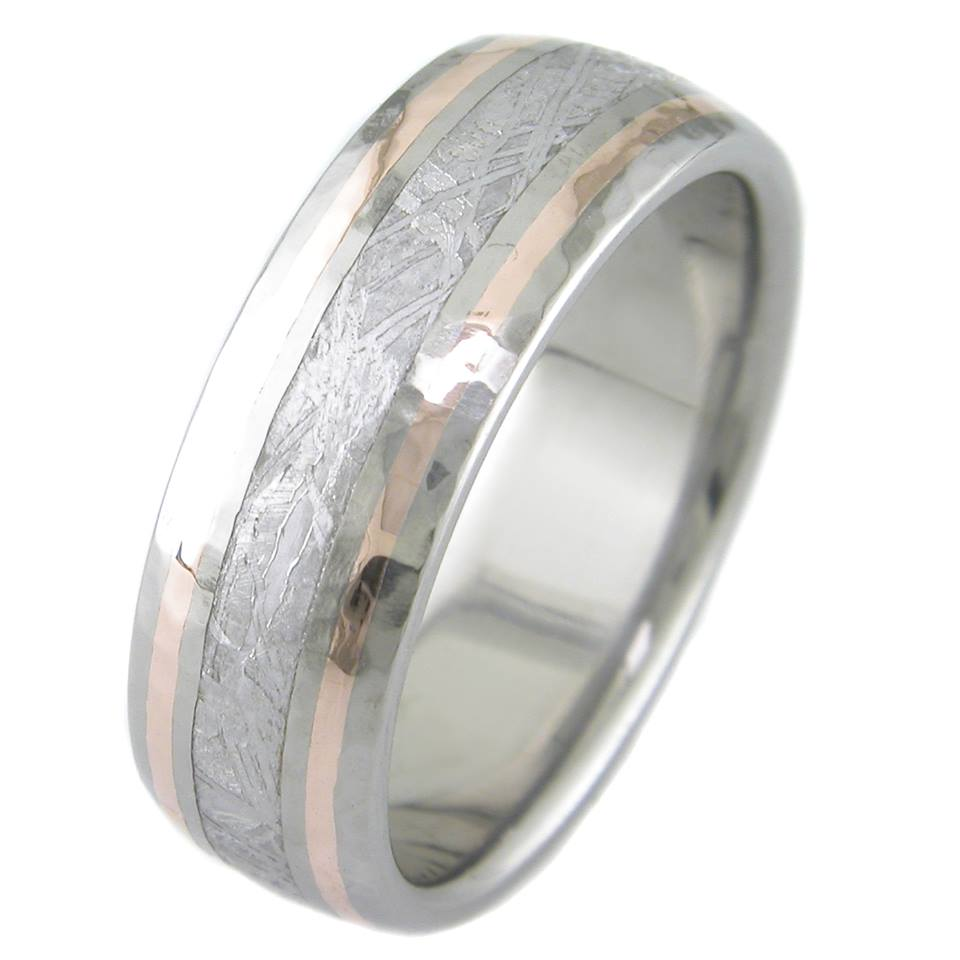 mens hammered titanium meteorite ring with twin rose gold accents
