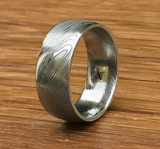 mens dome profile damascus steel wedding ring - Damascus Wedding Ring