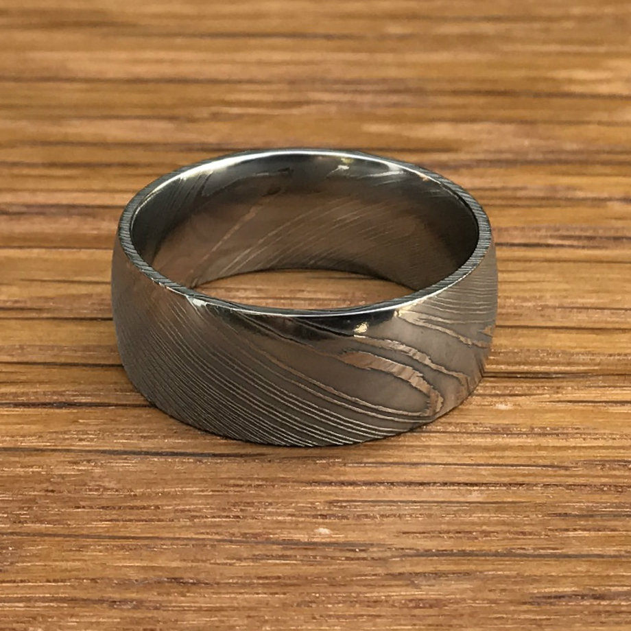 polished dome damascus wedding band bold damascus steel band by